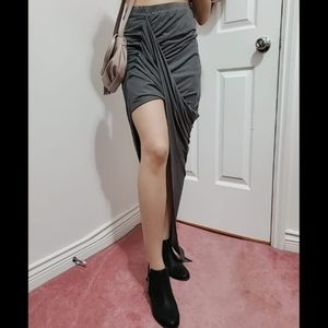 BOGO50 - Charcoal grey suede asymmetrical skirt